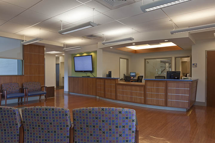 Pediatrics main reception and waiting area.